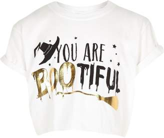9f60ced7 Showing 46 halloween shirts kids. at River Island · River Island Girls White  'Bootiful' Halloween T-shirt