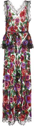 Rodarte Floral Embroidered Full Length Jumpsuit