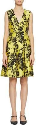 Erdem Yoko Sleeveless Floral-Jacquard V-Neck Dress