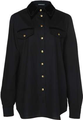 Alberta Ferretti Velvet-Trimmed Button-Up Cotton Blend Shirt