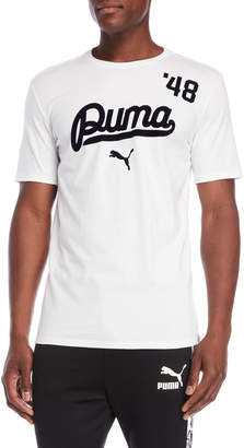 Puma White Flocked Logo Tee