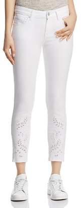 Mavi Jeans Adriana Ankle Eyelet Tapestry Skinny Jeans in White Deco