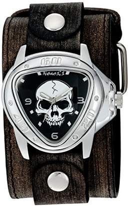 Nemesis 'Triangle Heavy Duty' Quartz Stainless Steel and Leather Watch