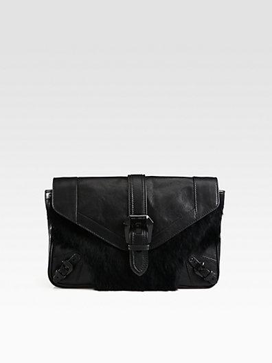 Rebecca Minkoff Cooper Leather & Fur-Trimmed Clutch