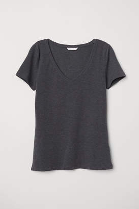 H&M V-neck Jersey Top - Gray