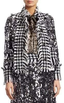 Dolce & Gabbana Paillette Tweed-Trim Jacket
