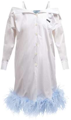 Prada Feather Trimmed Off The Shoulder Cotton Shirtdress - Womens - White Multi