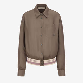 Bally Silk Bomber Shirt Grey, Women's silk bomber style shirt in snuff