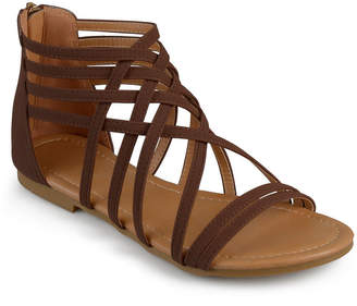 Journee Collection Womens Hanni Criss Cross Strap Gladiator Sandals Wide Width