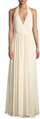 Milly Georgina Silk Stretch Halter-Strap Gown