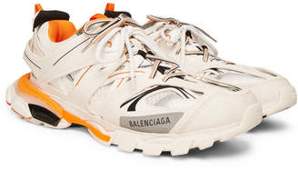 Balenciaga Track Mesh and Leather Sneakers - White