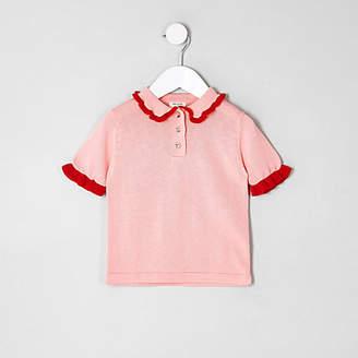 River Island Mini girls pink knit frill polo shirt