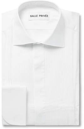 Privee SALLE White Mavis Cutaway-Collar Bib-Front Cotton-Poplin Tuxedo Shirt