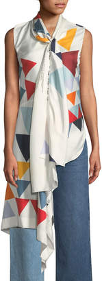 Monse Sleeveless Scarf Triangle-Print Silk Blouse