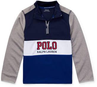 Ralph Lauren Colorblock Logo Half-Zip Knit Top, Size 5-7