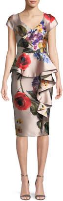 David Meister Floral V-Neck Asymmetric Ruffle Dress