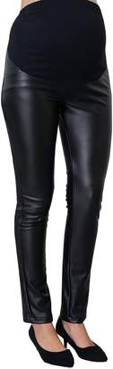 Sweet Mommy Maternity/ Pregnancy Super Stretchy Fake Leather Leggings Pants, XL
