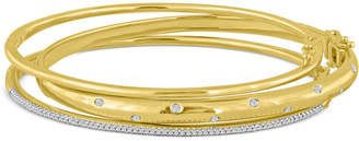 Macy's Diamond (1/4 ct. t.w.) Stackable Trio Bangle Bracelet Set in 14K Gold-Plated Sterling Silver