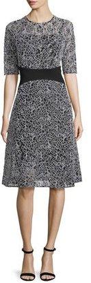 Rickie Freeman for Teri Jon Embroidered-Mesh Half-Sleeve Cocktail Dress, Black/White $430 thestylecure.com