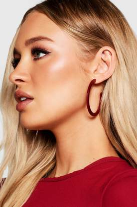 boohoo Berry Oversized Hoops