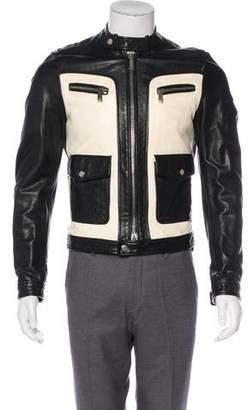 DSQUARED2 Leather Two-Tone Cafe Racer Jacket