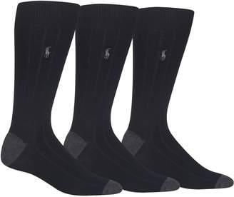 Polo Ralph Lauren Mens 3-Pack Rib Crew Socks