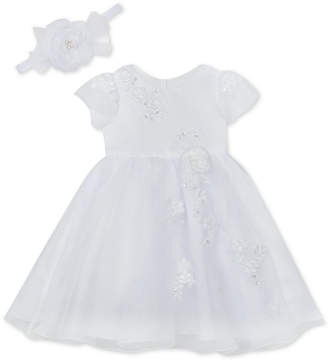 Rare Editions Baby Girls Christening Dress & Headband