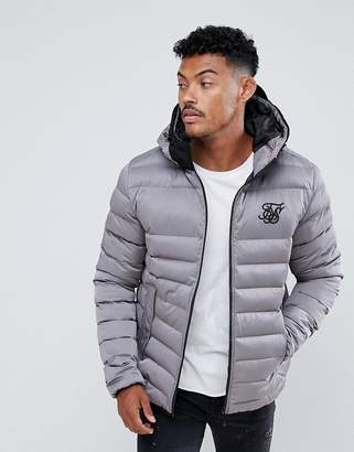 SikSilk puffer jacket with hood in gray