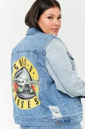 Forever 21 Plus Size Guns N' Roses Graphic Denim Jacket