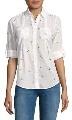 Lord & Taylor Petite Printed Button-Down Shirt