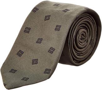 Givenchy Dark Green Logo Silk Tie