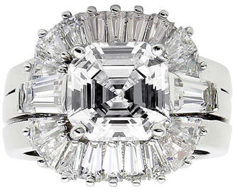 FINE JEWELRY DiamonArt Cubic Zirconia Sterling Silver Starburst Bridal Ring Set