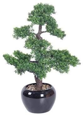 Homescapes Oriental Artificial Bonsai Tree In Decorative Glossy Black Pot