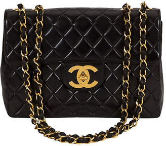 One Kings Lane Vintage Chanel Black Quilted & Logo Jumbo - Vintage Lux