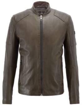 BOSS Hugo Slim-fit biker jacket in lightly waxed leather 34R Dark Green