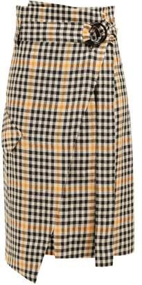 Petar Petrov Ryan Checked Cotton Wrap Skirt - Womens - Orange Multi