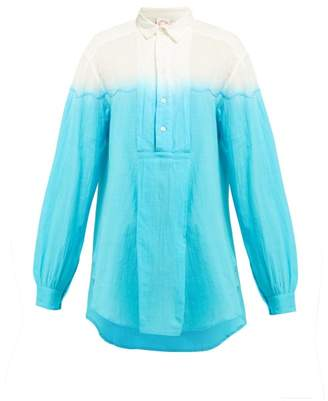 Kilometre Paris - Dip Dyed Cotton Shirt - Womens - Light Blue