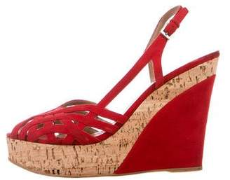 Alaia Multi-Strap Suede Slingback Wedge Sandals