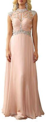 Asstd National Brand Diamond Sleeveless Cutout Back Prom Dress