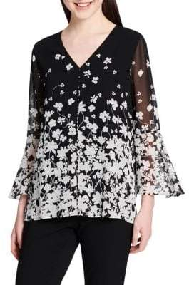 Calvin Klein Floral Flare Sleeve Blouse