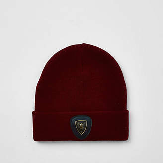 River Island Boys dark red badge slouch beanie hat