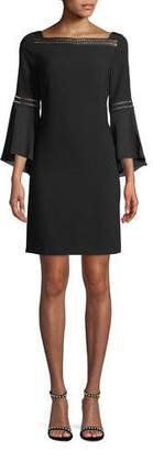 Elie Tahari Esmarella Ladder-Stitch Bell-Sleeve Dress
