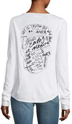 Zadig & Voltaire Tunisien Henley Long-Sleeve Cotton Tee with Graphic Print
