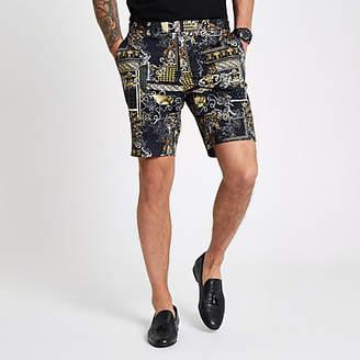 River Island Black print smart shorts