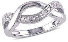 HBC CONCERTO Sterling Silver 0.10 TCW Diamond Twist Ring