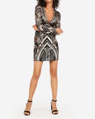 Express Geometric Sequin Long Sleeve Deep V Mini Bodycon Dress