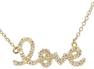 Sydney Evan Diamond Script Love Necklace -Yellow Gold