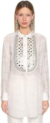 Etro Oversize Embellished Silk Sheer Shirt