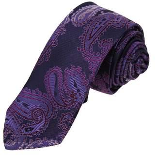 DAE7B04G Black Grey Red Patterned Microfiber Skinny Tie Casual Mens Thin Tie By Dan Smith