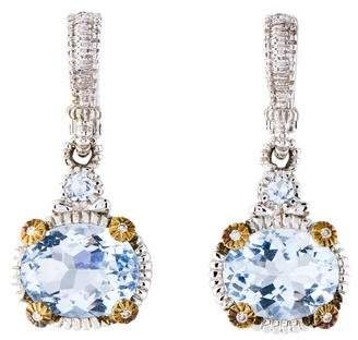Judith Ripka Synthetic Blue Quartz & Diamond Drop Earrings